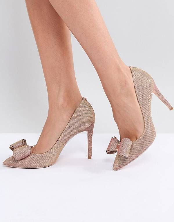 a9b4626b83b Ted Baker Azeline Rose Gold Sparkling Heeled Court Shoes