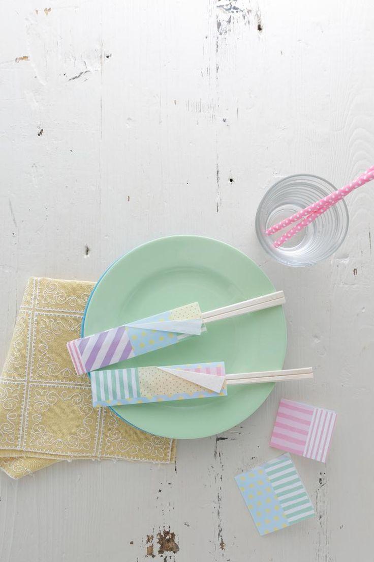 オリジナルの折り紙を使った箸袋とミニカード。おもてなしに大活躍です!/おりがみとふせんのクラフトアイデア(はんど&はあと12月号)