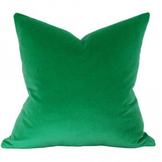 Emerald Green Velvet Green Velvet Pillow White