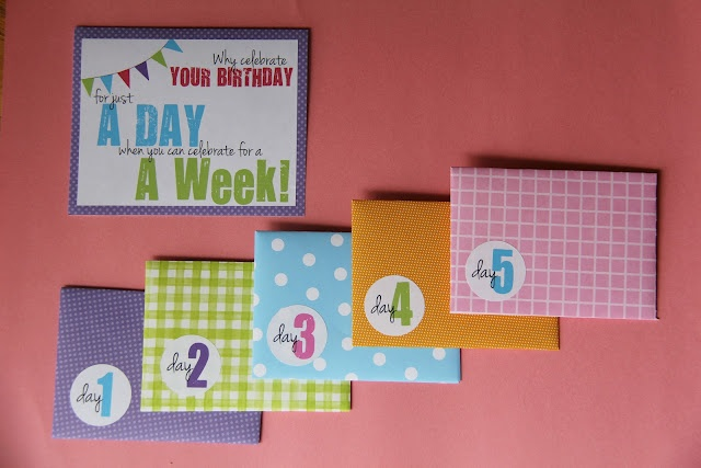 "LOVE this week-long birthday celebration. Diff gift cards for each day of the week. ""Buy yourself something yummy"" with gift card out to eat, etc. #giftideas"