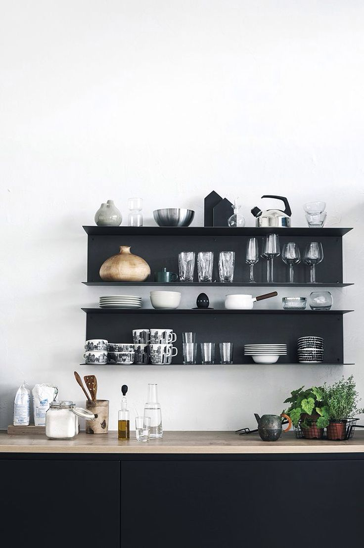 black shelves, black cabinets.