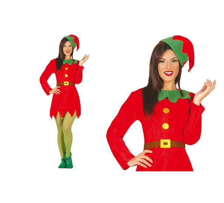 Disfraz de Elfa verde y rojo para mujer. Talla L = 42/44. Incluye gorro y vestido. Medias y babuchas NO incluidas. Completa el disfraz de Duende con complementos de nuestra sección de Accesorios.
