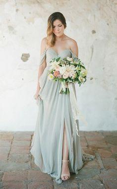 Chiffon Off Shoulder Side Slit bridesmaid dresses, 2017 Long Bridesmaid Dress, Cheap Custom bridesmaid dresses, Bridesmaids Dresses