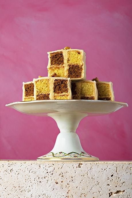 Mary Berry, Coffee and walnut Battenberg cake. Also known as Battenburg. (4th recipe in the bunch.)
