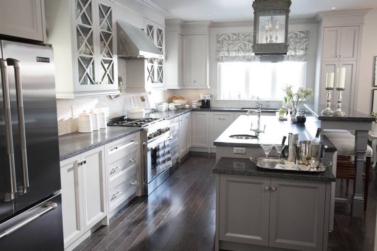 Kitchen designed by Sarah Richardson for Sarah's House. Love this grey and charcoal color palette.