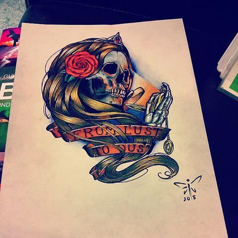 Hope :3   #fromlusttodust #skull #tattoo #design #neotraditional #color #rose #watch #pocket #banner #him #himster #skeleton #gold #hair #art #drawing #artist #heartagram #time