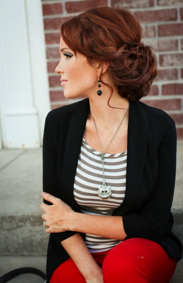 Red pants, striped shirt, black blazer, owl necklace. Glasses - Amazon, earrings…                                                                                                                                                                                 More
