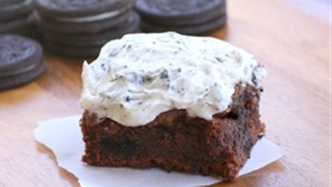 Brownies with crumbled cookies tucked in the batter and in the creamy frosting.