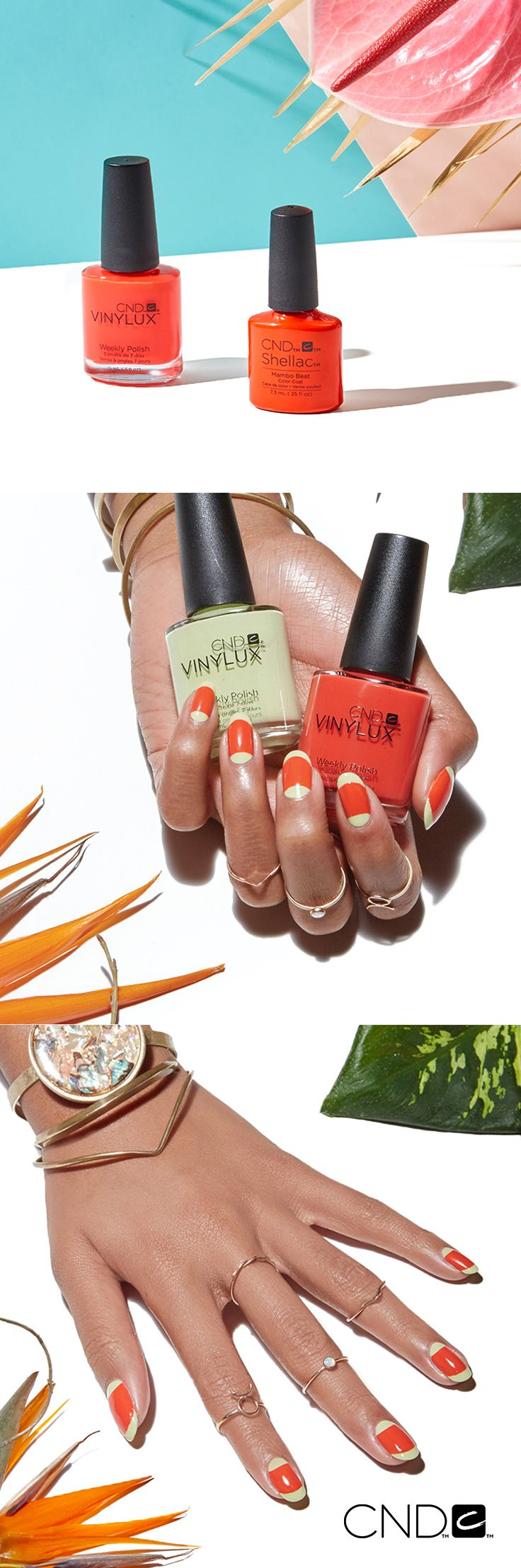 Ask your nail pro to recreate this fun twist on a French manicure with Sugarcane and Mambo Beat from NEW #CNDRhythmAndHeat