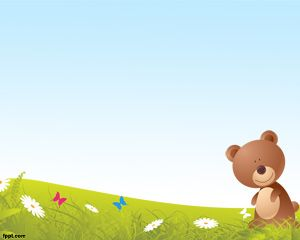 Cartoon Bear PowerPoint - Can be used as teaching aid in classes with children as the main audiences although some adults may not resists this cute Teddy Bear.