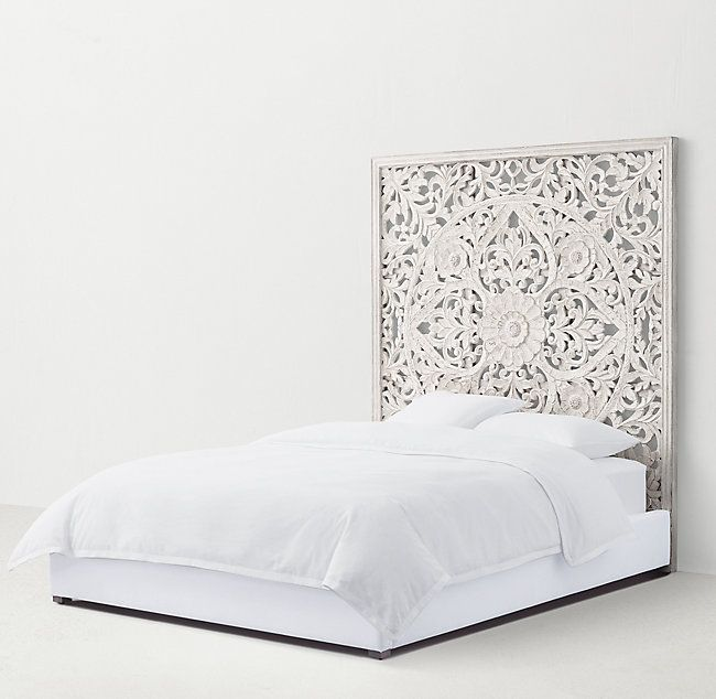 Anaya Platform Bed Platform Bedroom White Wooden Headboard Carved Headboard