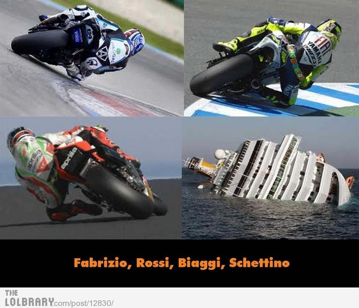 lol... Somebody raced in moto gp before the became a cruise ship captain