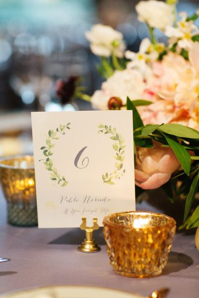 Watercolor table markers: http://www.stylemepretty.com/illinois-weddings/chicago/2014/12/02/elegant-chicago-wedding-at-the-chicago-cultural-center/ | Photography: Olivia Leigh - http://olivialeighweddings.com/