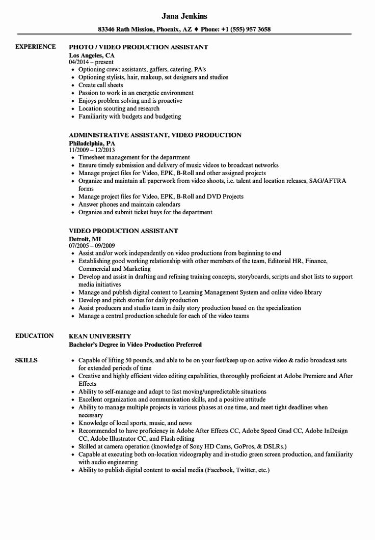 45 inspirational production assistant resume template in