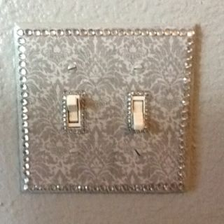 DIY-Deca Podge Light switch cover to match my new Old Hollywood Glamour master bedroom.
