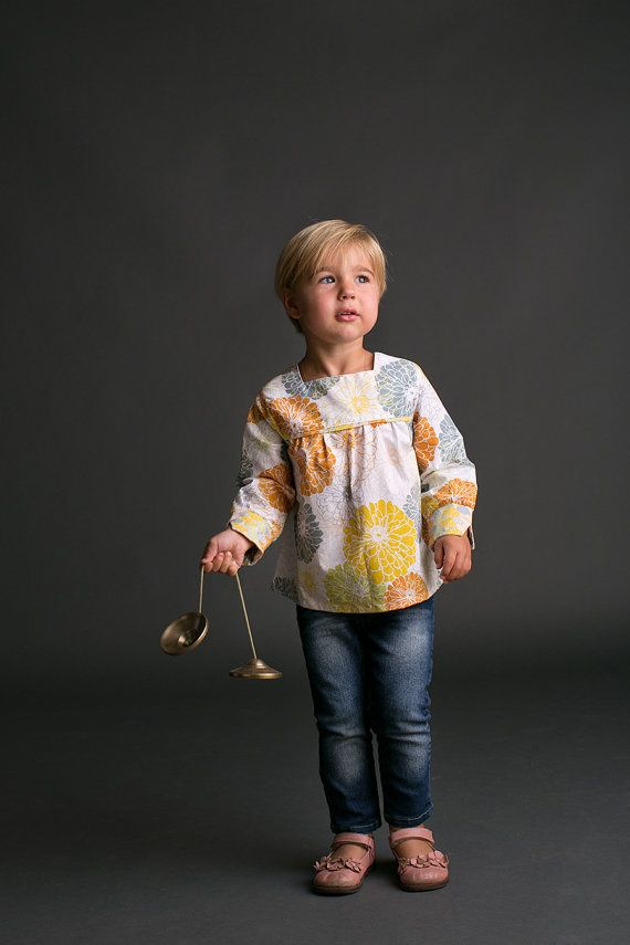 Girls Shirt Pattern with Collar option - Long Sleeved Top Sewing Pattern PDF Download