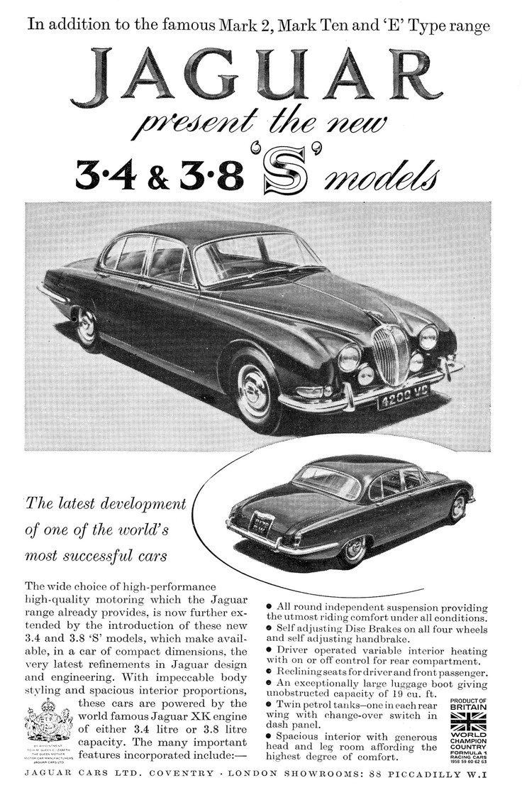 Ads for British Cars 1960s. The right shape for a Jaguar!
