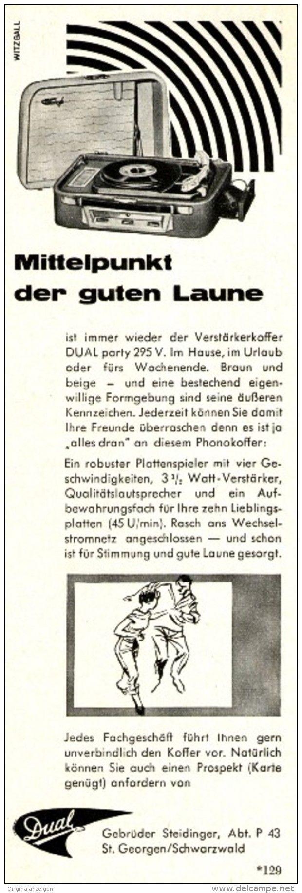 Original-Werbung/ Anzeige 1958 - DUAL PLATTENSPIELER - ca. 65 x 200