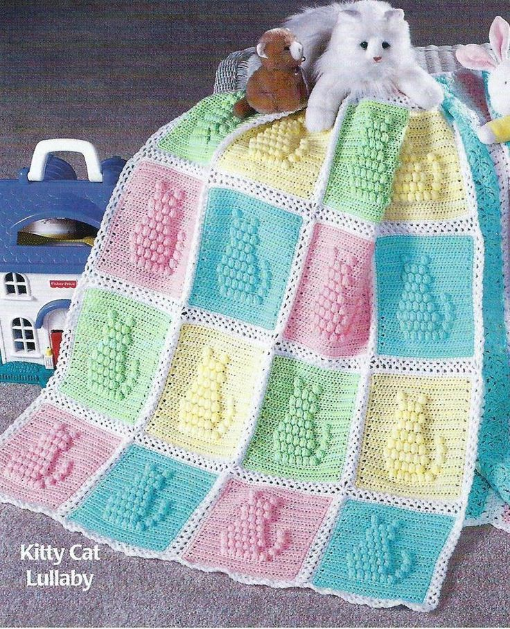 Baby Crochet Pattern Blanket Afghan Cover Kitty Cat Lullaby 120 in Crafts, Crocheting & Knitting, Patterns | eBay
