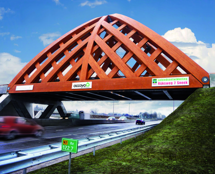 Heavy Traffic Road Bridges, the Netherlands. The first bridge was craned into position in December 2008 and the second bridge was completed in 2010. #accoya #wood