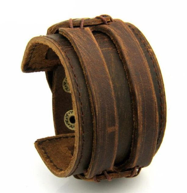 Authentic, genuine leather armlet. For more fine wares visit www.tungstenandcarbide.com