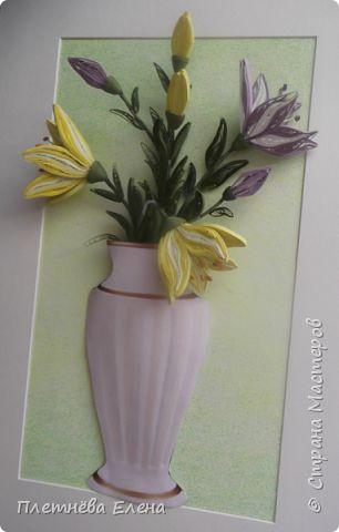 Картина панно рисунок Квиллинг ЛИЛИИ в технике квиллинг Бумага Бумажные полосы фото 2
