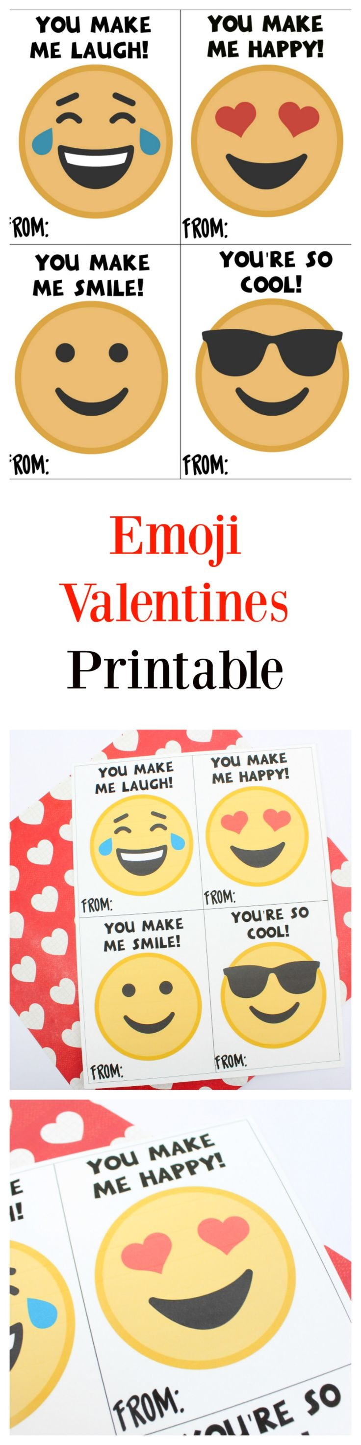 Printable Emoji Valentine's Day Cards - #valentinesday #valentines #printable