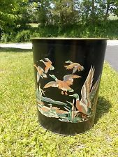 Vintage Midcentury Handpainted Metal Duck Wildlife Cabin Waste Basket Trash Can