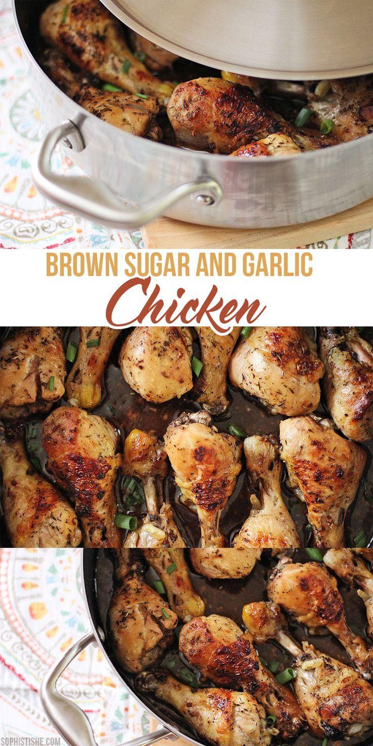 Baked Brown Sugar & Garlic Chicken Chicken Legsgarlic Chickenoven Chickenchicken  Drumstickshow To Cook