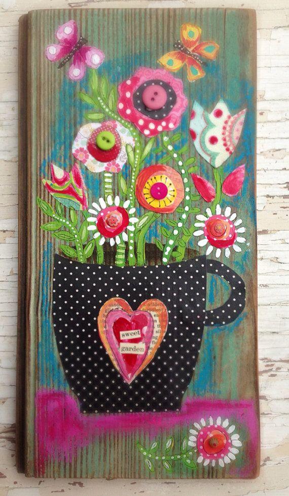 Folk Art on Reclaimed Wood Floral Springtime Decor by evesjulia12