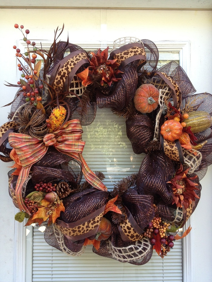 Fall Thanksgiving Deco Mesh Harvest Wreath. $90.00, via Etsy.