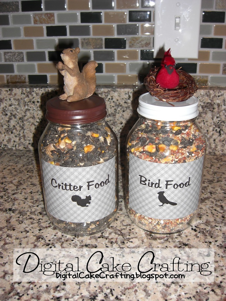 DIY! Bird Food & Critter Food Jars {I think I need to make one for Chicken Scratch that has a chicken silhouette on it!!!}
