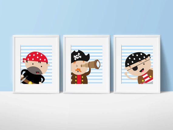 Pirate Nursery Wall Print, Pirates Wall Art Prints, Blue Red Nursery Prints, Baby Boy Nursery Wall Art Print and Bedroom Decor N213,214,215