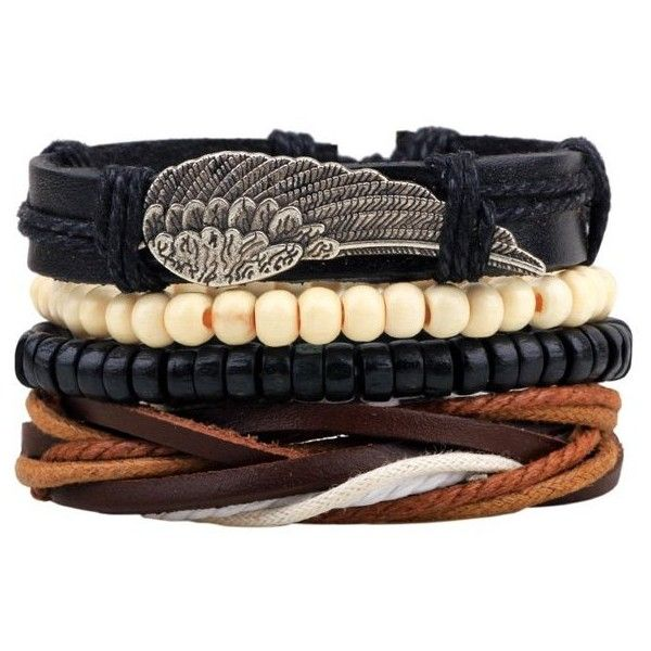 Wing Braided Bead Bracelets (10 PLN) ❤ liked on Polyvore featuring men's fashion, men's jewelry, men's bracelets, mens bead bracelets, mens leather braided bracelets and mens woven bracelets