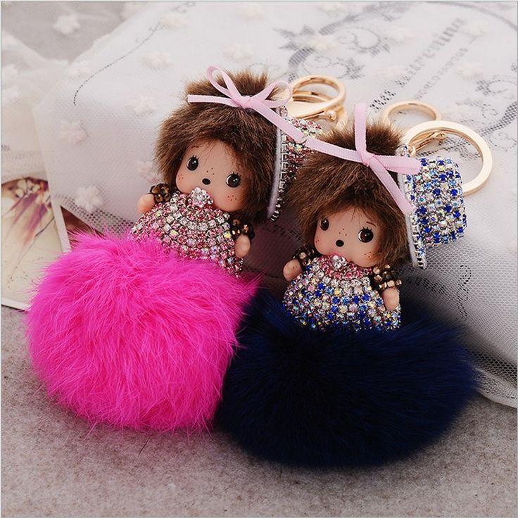 Cute Inlay Crystal Rhinestone Dolls Monchichi Rabbit fur ball keychain Fur pom pom keychain Woman bag charm Pendant porte clef-in Key Chains from Jewelry on Aliexpress.com | Alibaba Group