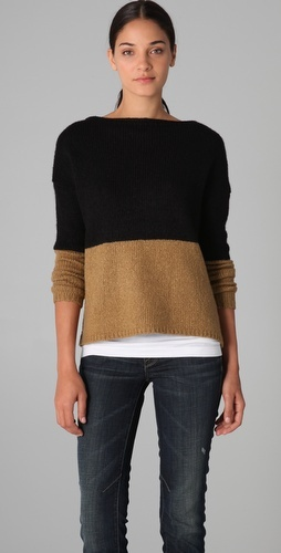 colorblock boat neck sweater in camel and black by vince