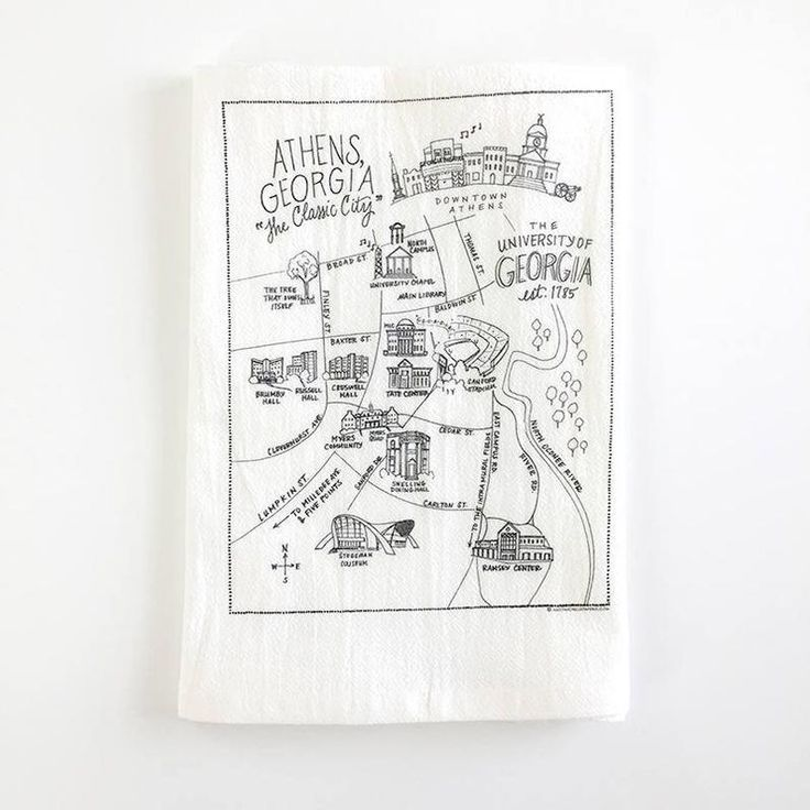 Uga Campus Map Flour Sack Towel Etsy Campus Map Flour Sack Towels Illustrated Map
