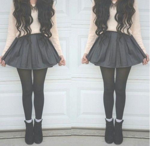 Black denim like skirt, black stocking, white sweather(#SweatherWeather! :) black booties and cute curls!