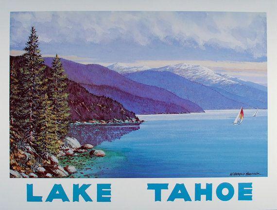 LAKE TAHOE Poster, Lake Tahoe kunst, Lake Tahoe Print, reizen Poster, Californië Wall Art, Nevada kunst aan de muur, Vintage Poster, Meerhuis Decor