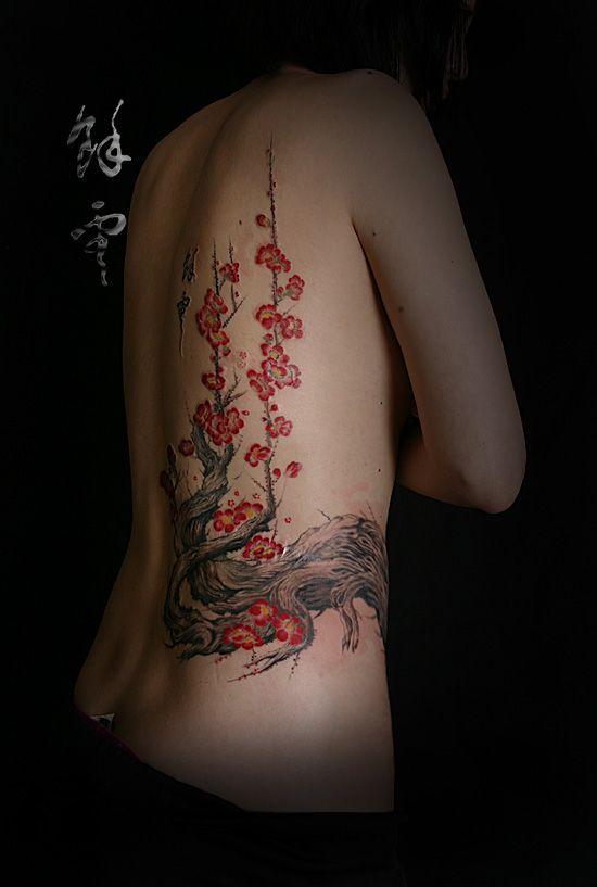 Japanese apricot flower tattoo  yeoun tattoo studio