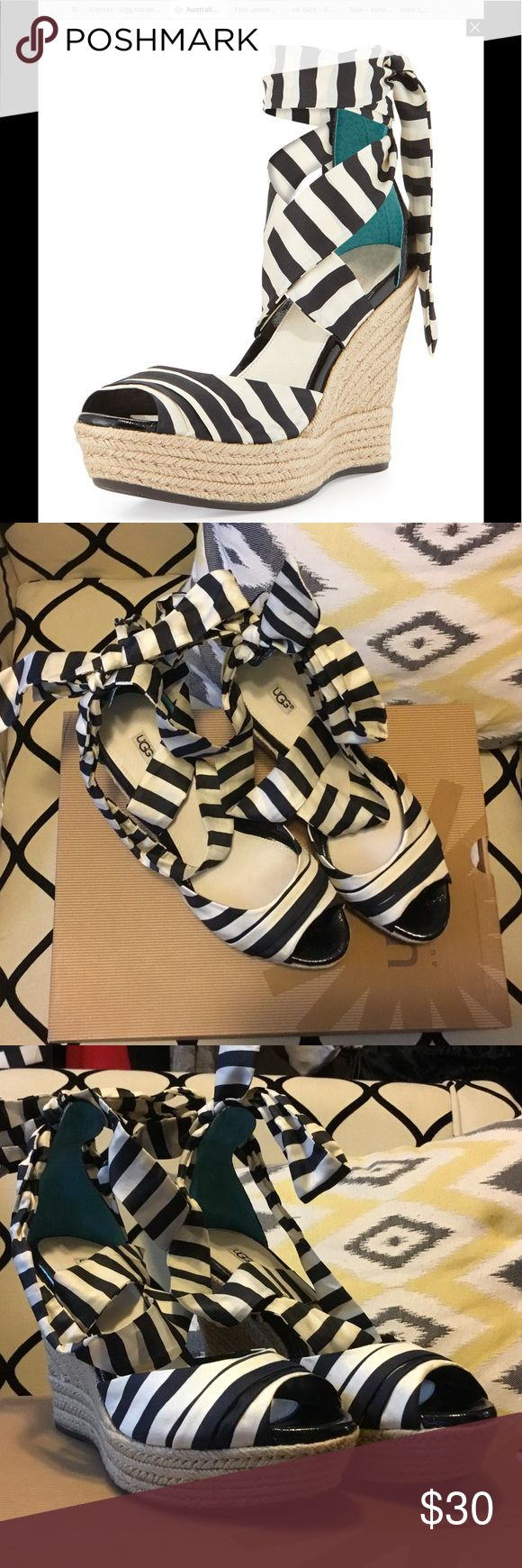 UGG Australia Lucianna Shoe 9 Blk/White Ugg Australia black and white espadrilles wedge sandals. Great condition, they just don't fit anymore or I'd keep them. Extremely comfortable! UGG Shoes Espadrilles
