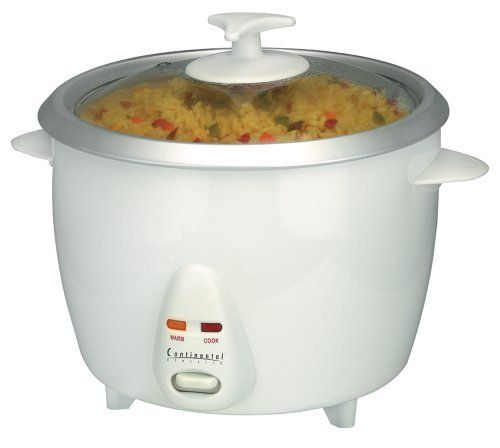"Continental Electric CE23211 6 Cup Rice Cooker by Continental Electrics. $14.43. Removable Liner. Cooks Up To 6 Cups Of Rice. Brand: Continental Electrics. Glass Lid. Cook and Warm Indicator Lights. CE23211 Size: 6 Cup Features: -Rice cooker.-Keep warm function and glass lid.-Indicator lights.-Removable liner. Color/Finish: -Color: White. Dimensions: -3 Cup Dimensions: 6.75"" H x 7.88"" W x 7.88"" D.-6 Cup Dimensions: 9.5"" H x 9.5"" W x 8"" D.-10 Cup Dimensions: 9"" H x 9.9..."
