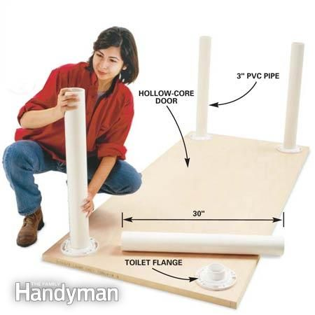 PVC Pipe Table Legs. You can mount these to any hard surface to make a table.