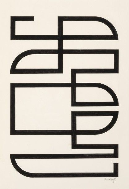 JO DELAHAUT Composition, 1953 Encre de Chine sur papier Signée et datée