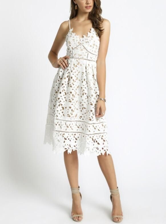 3a4d2a2533d7 White Laser Cut Lace Spaghetti Strap Dress with Back Zip and Nude Underlay