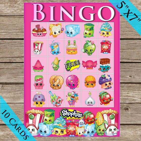 Shopkins Bingo Game! 10 Extra Cards! Digital Download