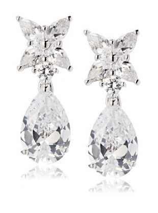 64% OFF CZ by Kenneth Jay Lane Flower & Pear Drop Earrings