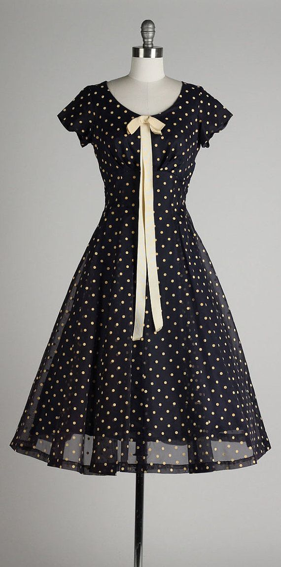 vintage 1950s dress . navy blue chiffon . by millstreetvintage I love the vintage look!