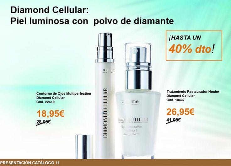 Serum y contorno de ojos al 40% Diamond celular, productos que trabajan desde el interior de la celula consiguiendo asi unos fantasticos resultados. Con trufa blanca-