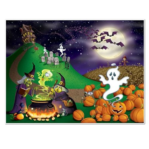 halloween insta mural 5 feet by 6 feet plastic mural hang on your wall with double sided tape or thumb tacks great decoration for your next halloween